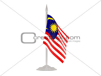 Flag of malaysia with flagpole. 3d render