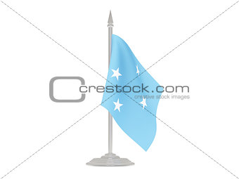 Flag of micronesia with flagpole. 3d render