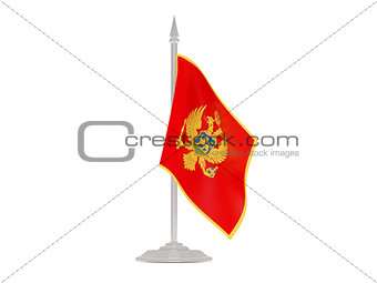 Flag of montenegro with flagpole. 3d render