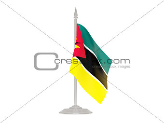 Flag of mozambique with flagpole. 3d render