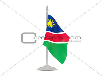 Flag of namibia with flagpole. 3d render