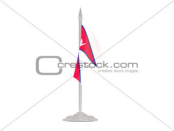 Flag of nepal with flagpole. 3d render