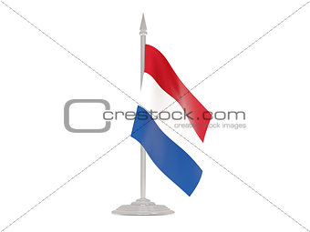 Flag of netherlands with flagpole. 3d render