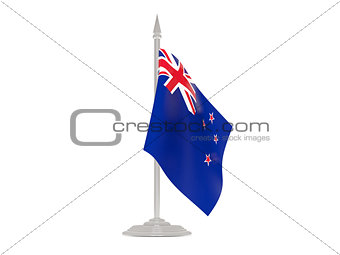 Flag of new zealand with flagpole. 3d render