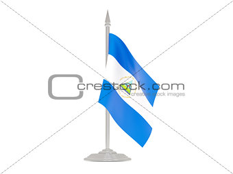 Flag of nicaragua with flagpole. 3d render