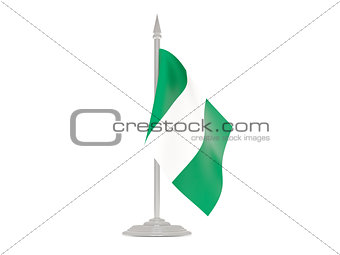 Flag of nigeria with flagpole. 3d render
