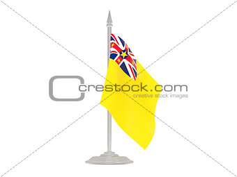 Flag of niue with flagpole. 3d render