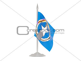 Flag of northern mariana islands with flagpole. 3d render