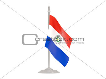 Flag of paraguay with flagpole. 3d render