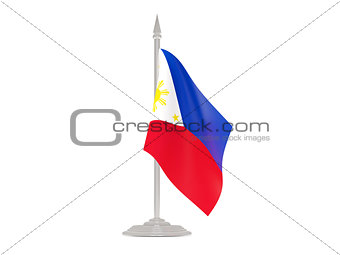 Flag of philippines with flagpole. 3d render