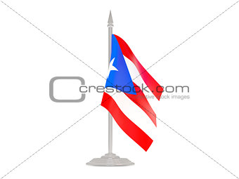 Flag of puerto rico with flagpole. 3d render