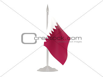 Flag of qatar with flagpole. 3d render