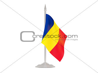 Flag of romania with flagpole. 3d render