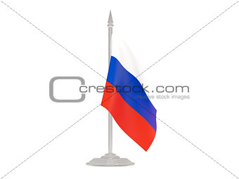 Flag of russia with flagpole. 3d render