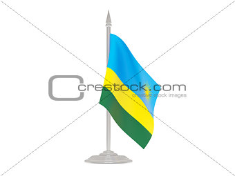 Flag of rwanda with flagpole. 3d render