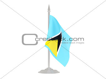 Flag of saint lucia with flagpole. 3d render