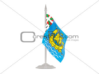 Flag of saint pierre and miquelon with flagpole. 3d render