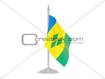 Flag of saint vincent and the grenadines with flagpole. 3d rende