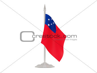 Flag of samoa with flagpole. 3d render