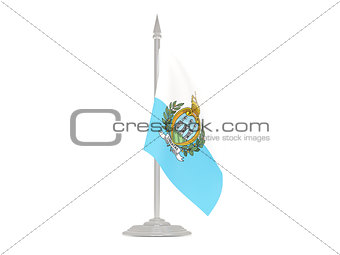 Flag of san marino with flagpole. 3d render