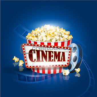Camera film strip and popcorn on blue background. Detailed vector illustration