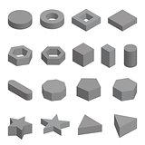 Monochrome set of geometric shapes, platonic solids, vector illustration