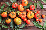 Red tomatoes with leaves on wooden background