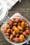 various sugared nuts in jar