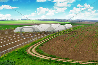 Greenhouse farming, cultivated landscape with arable soil