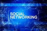 Social networking abstract blue background