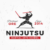 Japanese Ninja Logo. ninjutsu insignia design. Vintage ninja mascot badge. Martial art Team t-shirt illustration concept on grunge background