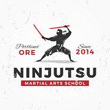 Japanese Ninja Logo. ninjutsu insignia design. Vintage ninja mascot badge. Martial art Team t-shirt illustration concept on grunge background