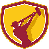 Demolition Worker Sledgehammer Crest Retro