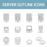 Server outline icons