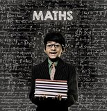 Maths. Genius Little Boy Holding Book Wearing Glasses Chalkboard