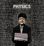 Physics. Genius Little Boy Holding Book Wearing Glasses Chalkboa