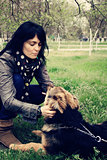 woman with dog German Shepherd. photo