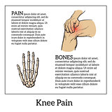 Color illustration of knee pain. Hands holding leg