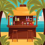 Summer bar, beach cafe with palm trees