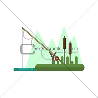 Fishing Rod Dipped In Water Illustration