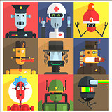 Cartoon Robots Of Different Professions