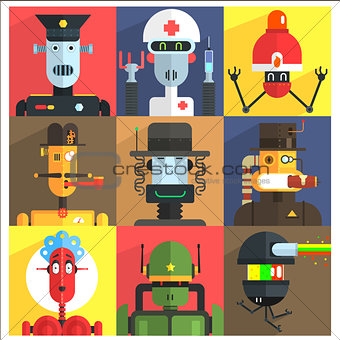 Cartoon Robots Of Different Professions
