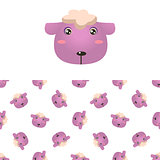 Sheep Head Icon And Pattern
