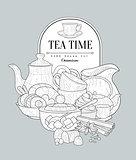 Tea Time Vintage Sketch