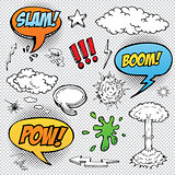 Collection of multicolored hand drawn comic sound Effects