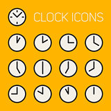 Set of Thirteen Vector Minimalistic Line Art Geometric Black and White Round Clock Time Icons