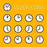 Set of Thirteen Vector Minimalistic Line Art Geometric Black and White Round Clock Time Icons