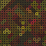 Vector Seamless Rounded Dashed Line Random Sunburst Multicolor Circles Pattern