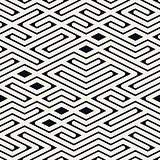 Vector Seamless Black and White Rounded Line Maze Irregular Pattern
