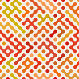 Vector Seamless Multicolor Red Orange Rounded Circular Shape Irregular Pattern